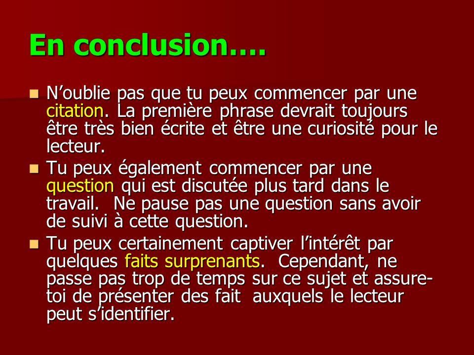 En conclusion….