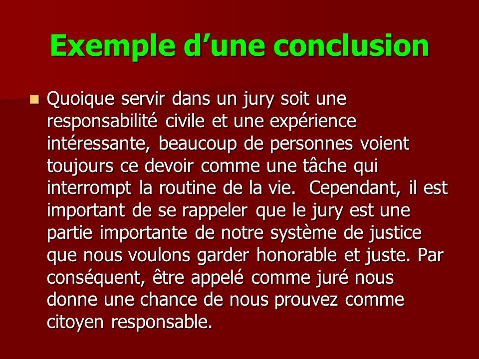 Exemple d'une conclusion