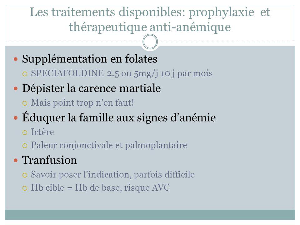 Les traitements disponibles: prophylaxie et thérapeutique anti-anémique