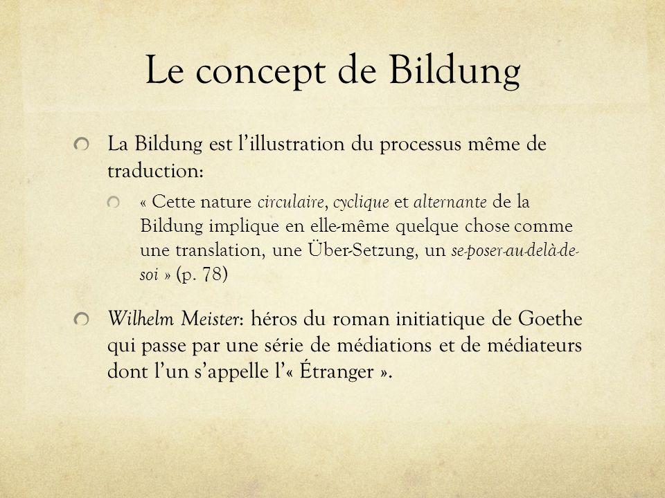 Le concept de Bildung La Bildung est l'illustration du processus même de traduction:
