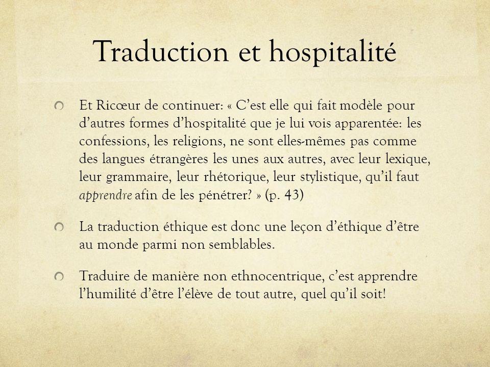Traduction et hospitalité