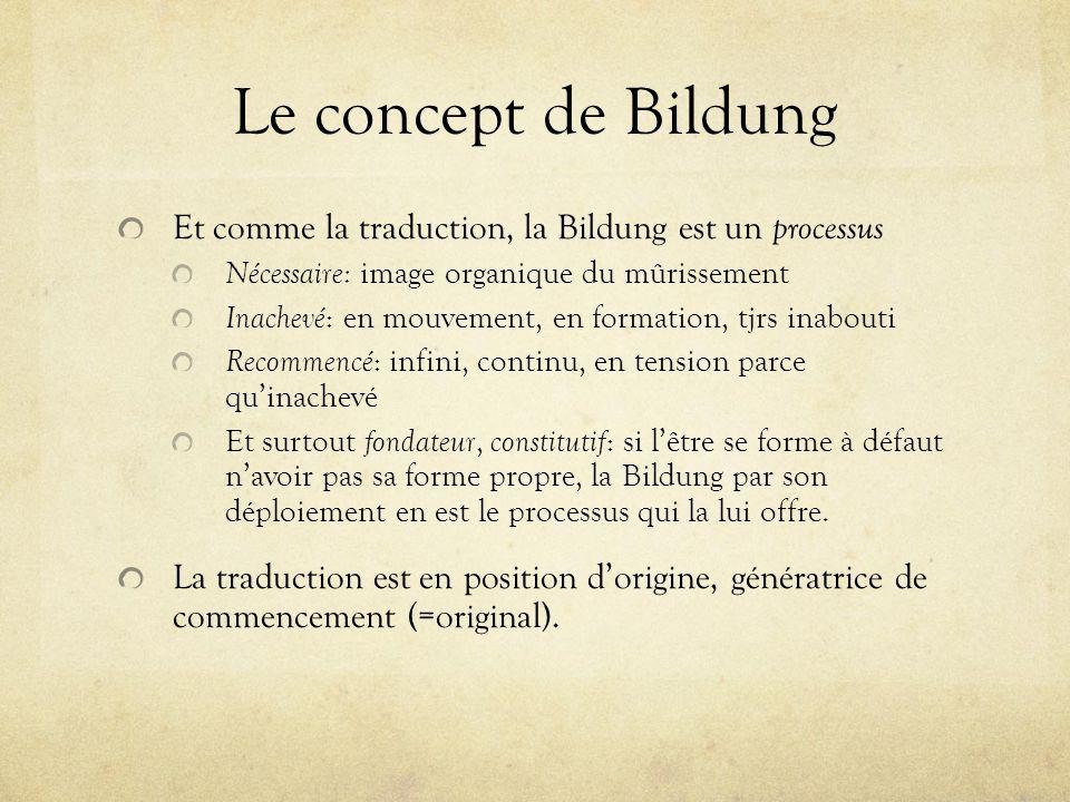 Le concept de Bildung Et comme la traduction, la Bildung est un processus. Nécessaire: image organique du mûrissement.