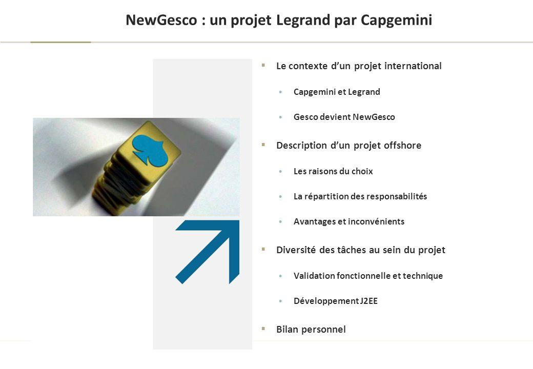 Le contexte d'un projet international : Capgemini et Legrand