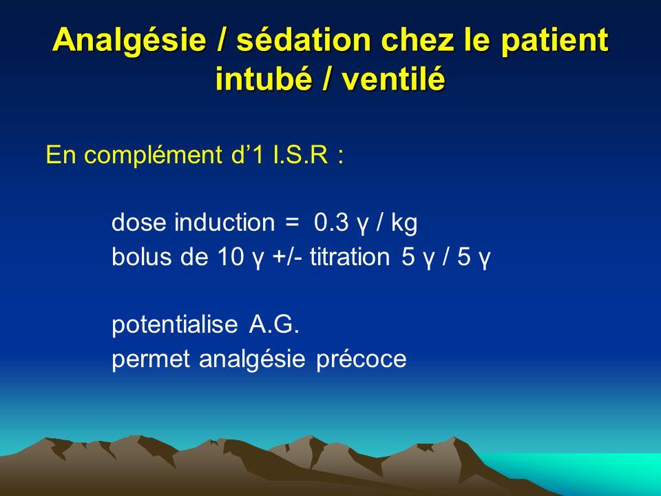 Analgésie / sédation chez le patient intubé / ventilé