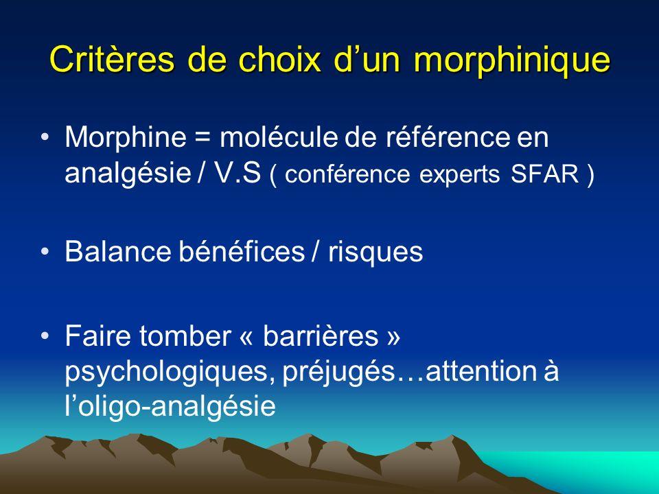Critères de choix d'un morphinique
