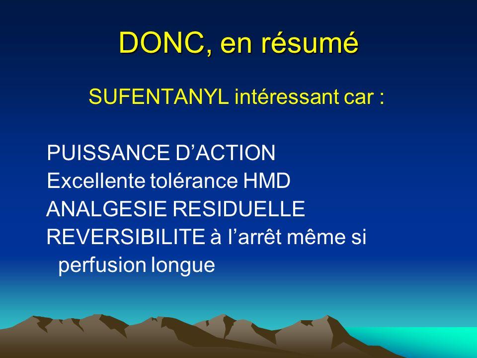 DONC, en résumé SUFENTANYL intéressant car : PUISSANCE D'ACTION