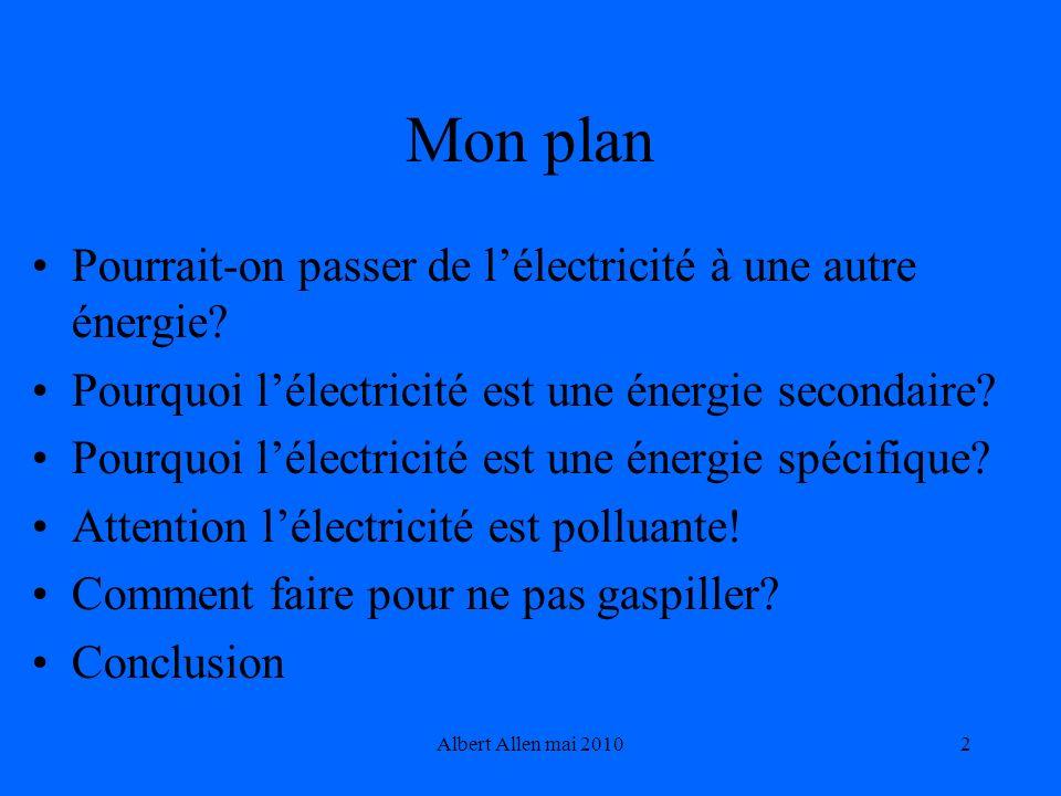 Mon plan Pourrait-on passer de l'électricité à une autre énergie