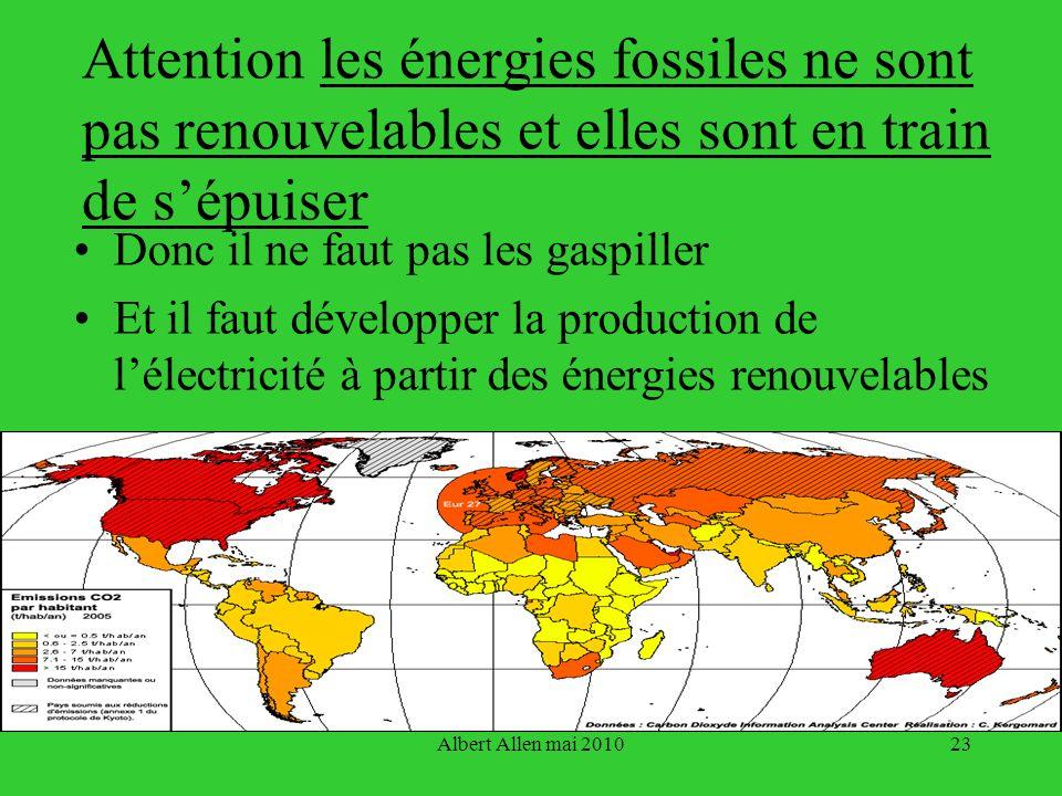Attention les énergies fossiles ne sont pas renouvelables et elles sont en train de s'épuiser