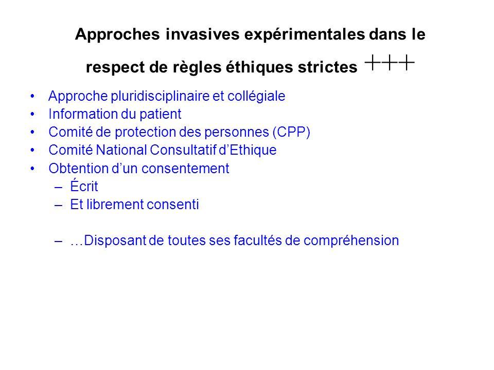 Approches invasives expérimentales dans le respect de règles éthiques strictes +++