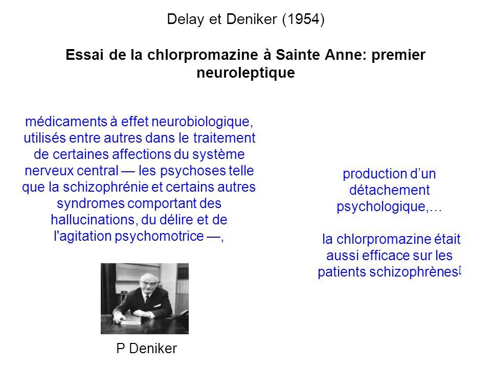 Delay et Deniker (1954) Essai de la chlorpromazine à Sainte Anne: premier neuroleptique