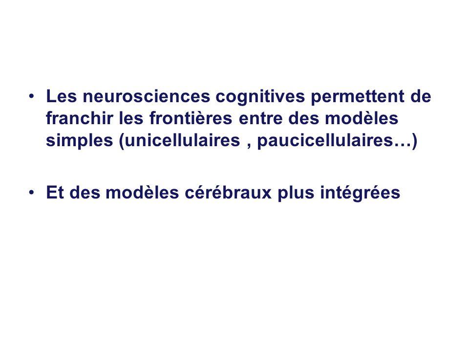 Les neurosciences cognitives permettent de franchir les frontières entre des modèles simples (unicellulaires , paucicellulaires…)