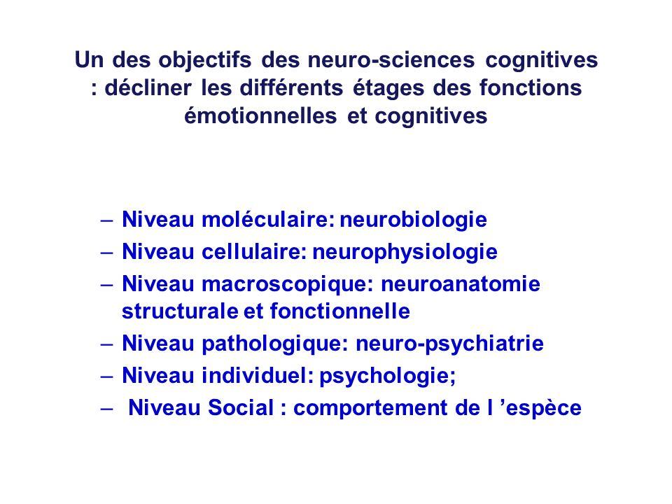 Un des objectifs des neuro-sciences cognitives : décliner les différents étages des fonctions émotionnelles et cognitives