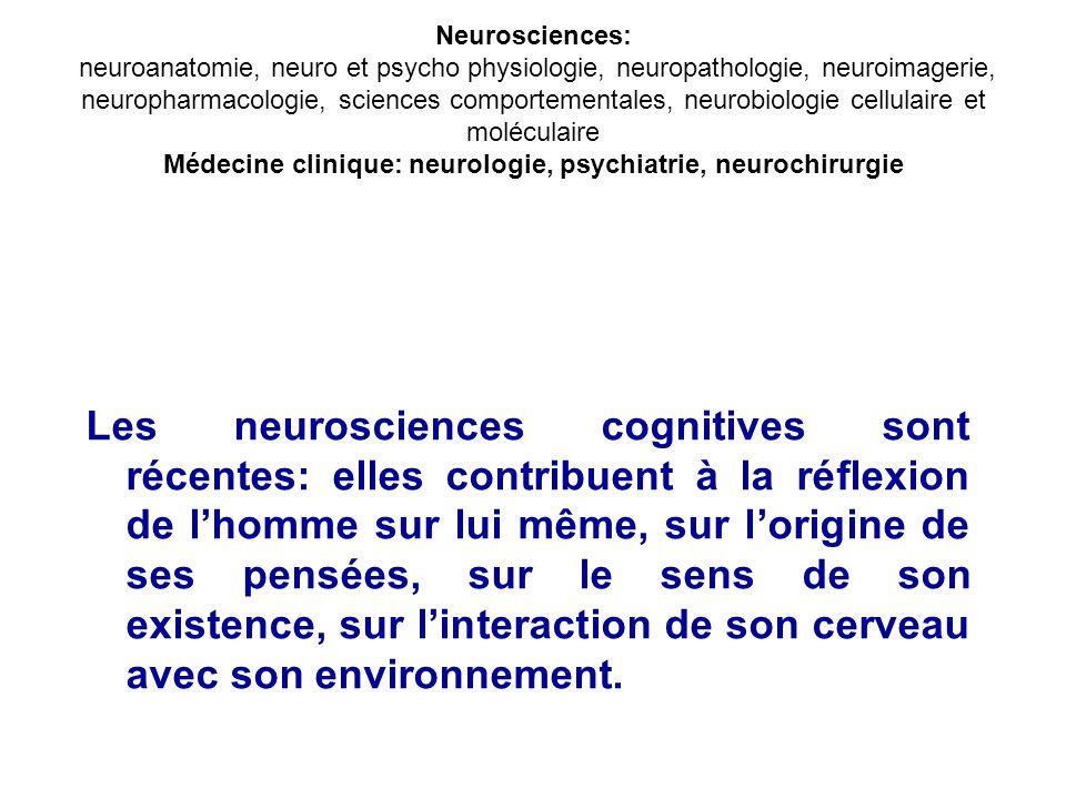 Neurosciences: neuroanatomie, neuro et psycho physiologie, neuropathologie, neuroimagerie, neuropharmacologie, sciences comportementales, neurobiologie cellulaire et moléculaire Médecine clinique: neurologie, psychiatrie, neurochirurgie