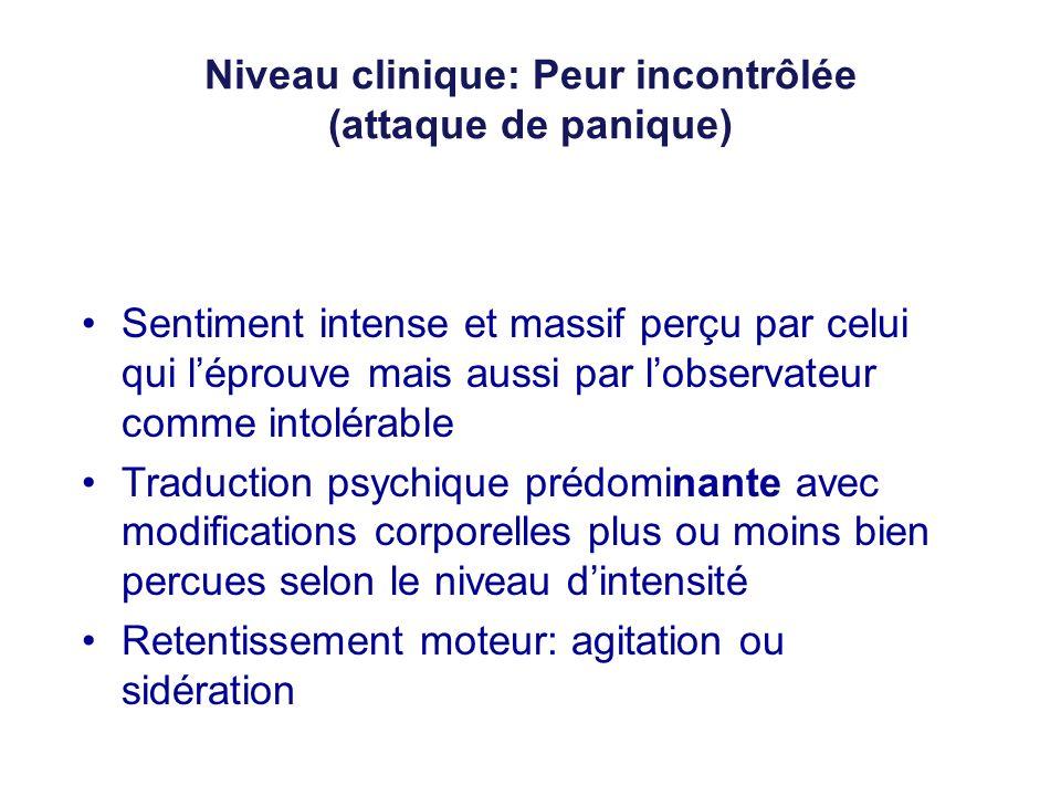 Niveau clinique: Peur incontrôlée (attaque de panique)