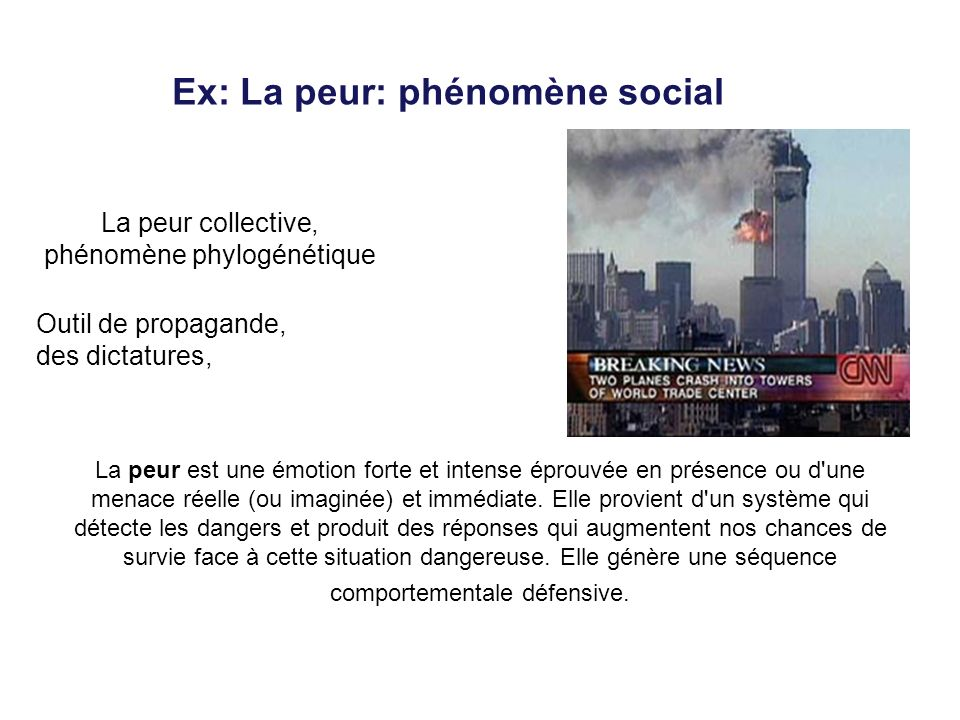 Ex: La peur: phénomène social