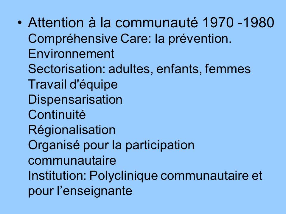 Attention à la communauté 1970 -1980 Compréhensive Care: la prévention