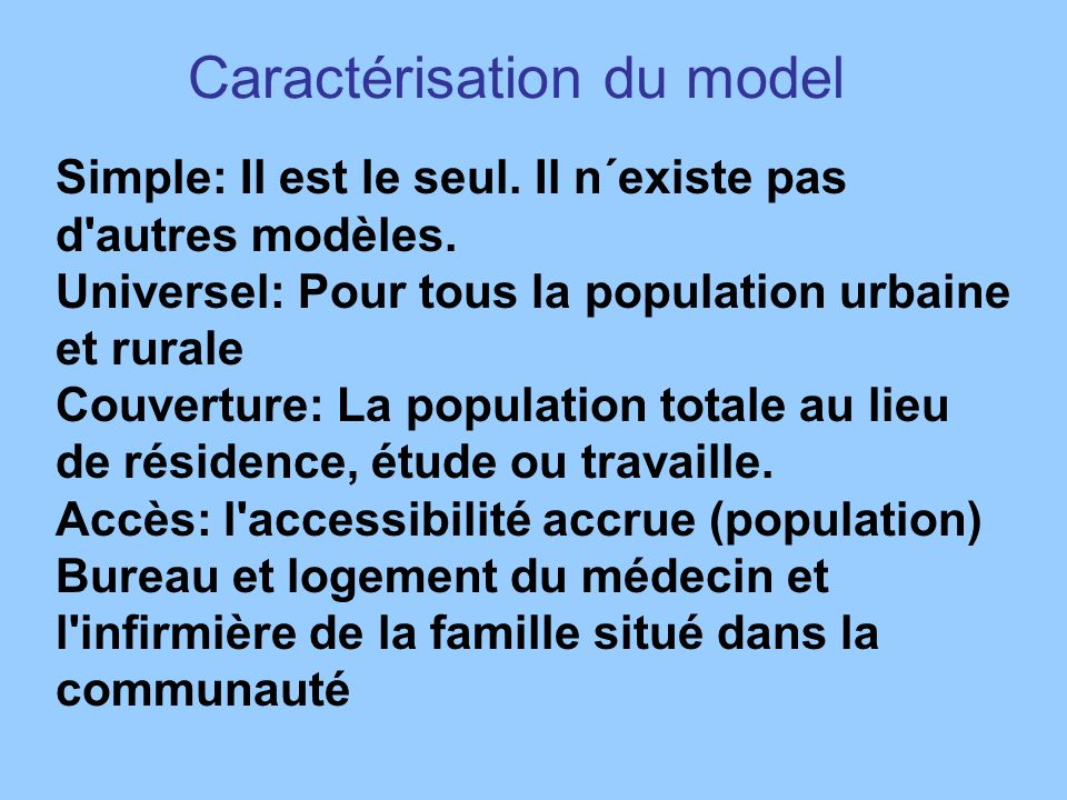Caractérisation du model