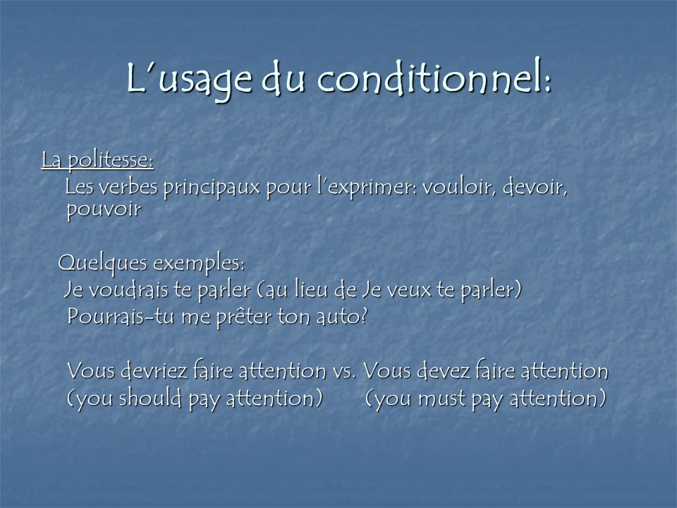L'usage du conditionnel:
