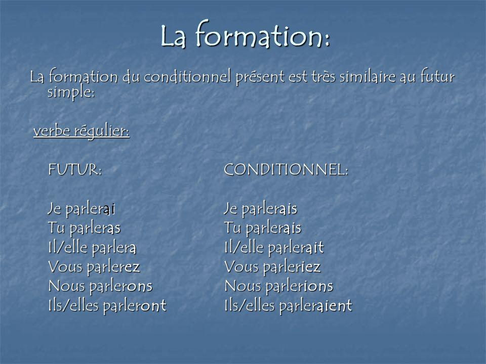 La formation: La formation du conditionnel présent est très similaire au futur simple: verbe régulier: