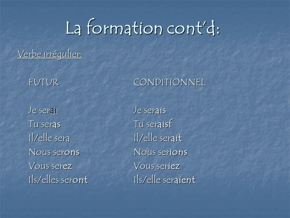 La formation cont'd: Verbe irrégulier: FUTUR CONDITIONNEL