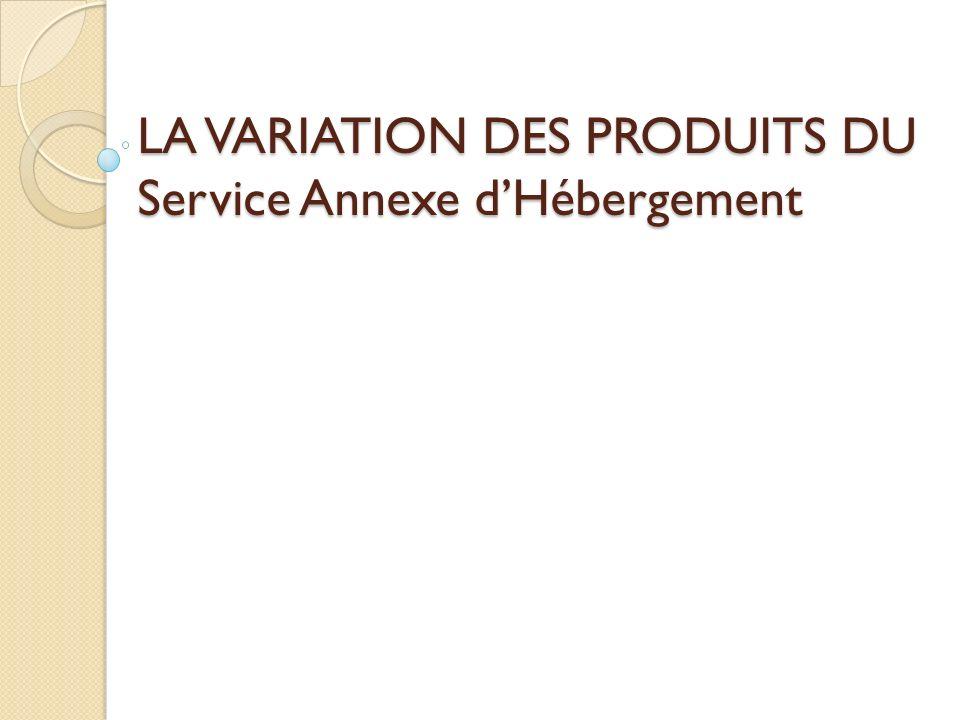 LA VARIATION DES PRODUITS DU Service Annexe d'Hébergement