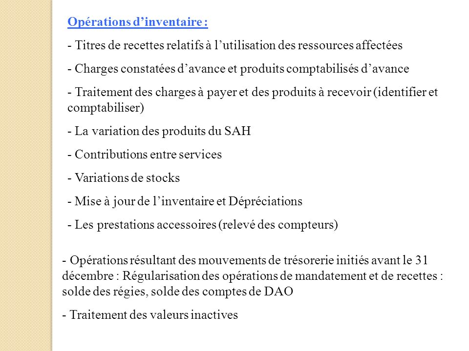 Opérations d'inventaire :