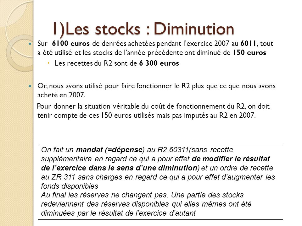 1)Les stocks : Diminution