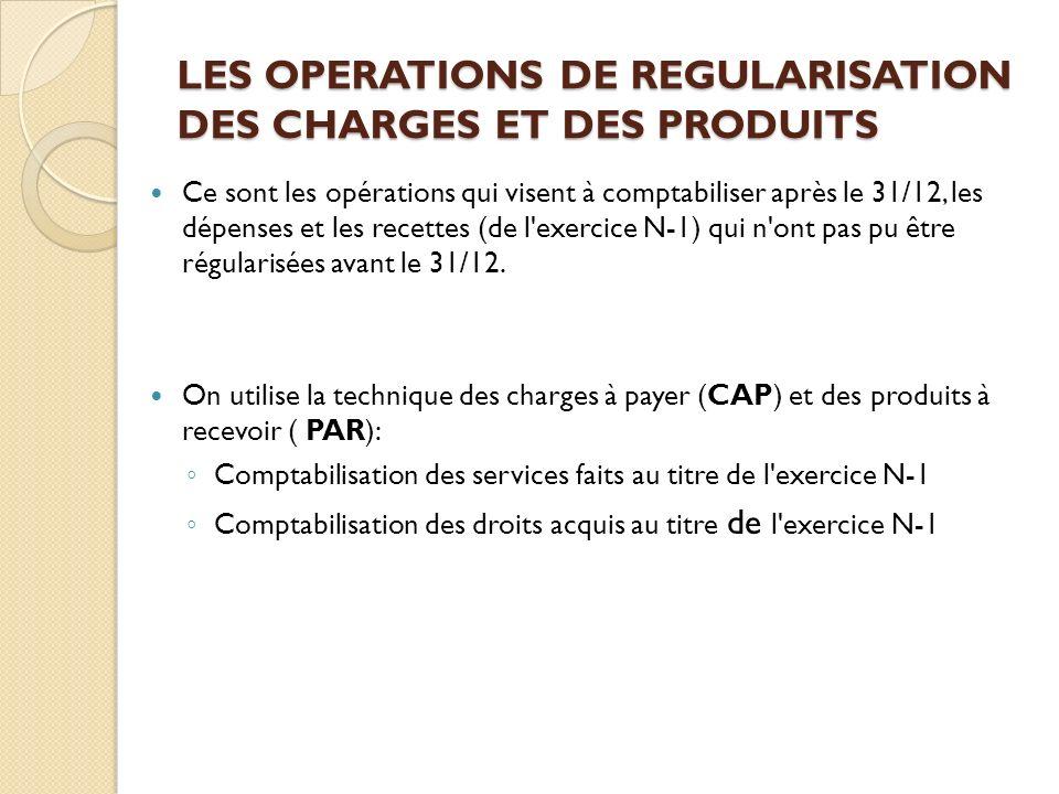 LES OPERATIONS DE REGULARISATION DES CHARGES ET DES PRODUITS