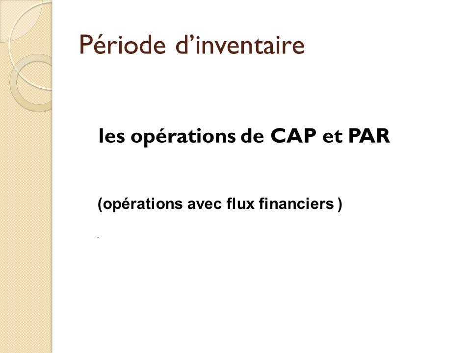 les opérations de CAP et PAR