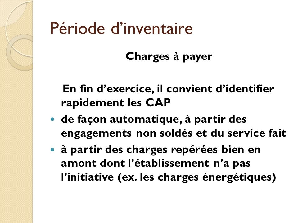 Période d'inventaire Charges à payer