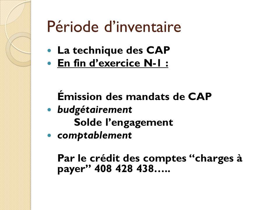 Période d'inventaire La technique des CAP En fin d'exercice N-1 :