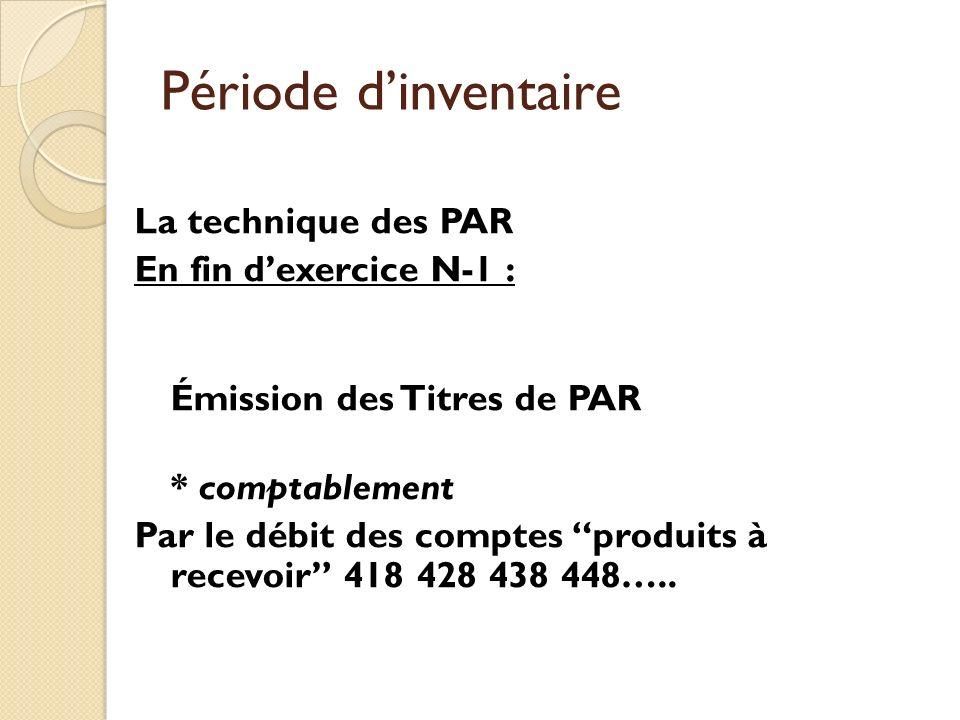 Période d'inventaire La technique des PAR En fin d'exercice N-1 :