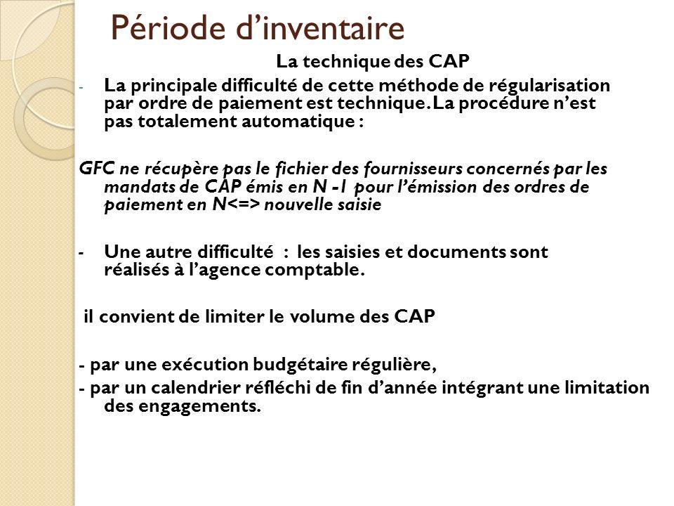 Période d'inventaire La technique des CAP