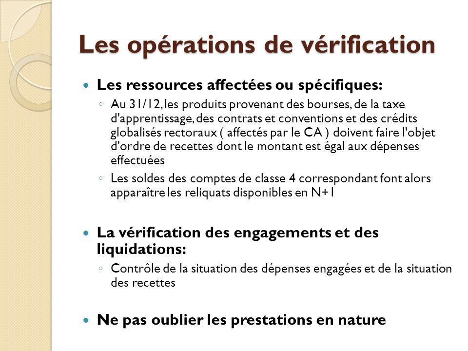 Les opérations de vérification
