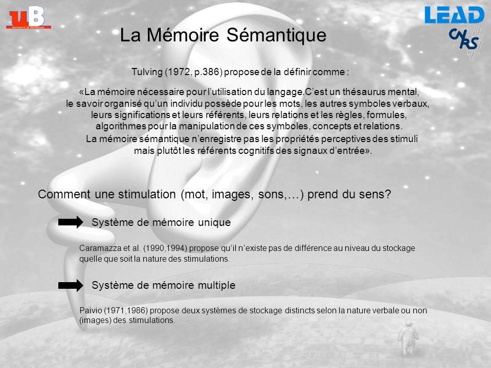 La Mémoire Sémantique Tulving (1972, p.386) propose de la définir comme : C'est un thésaurus mental,