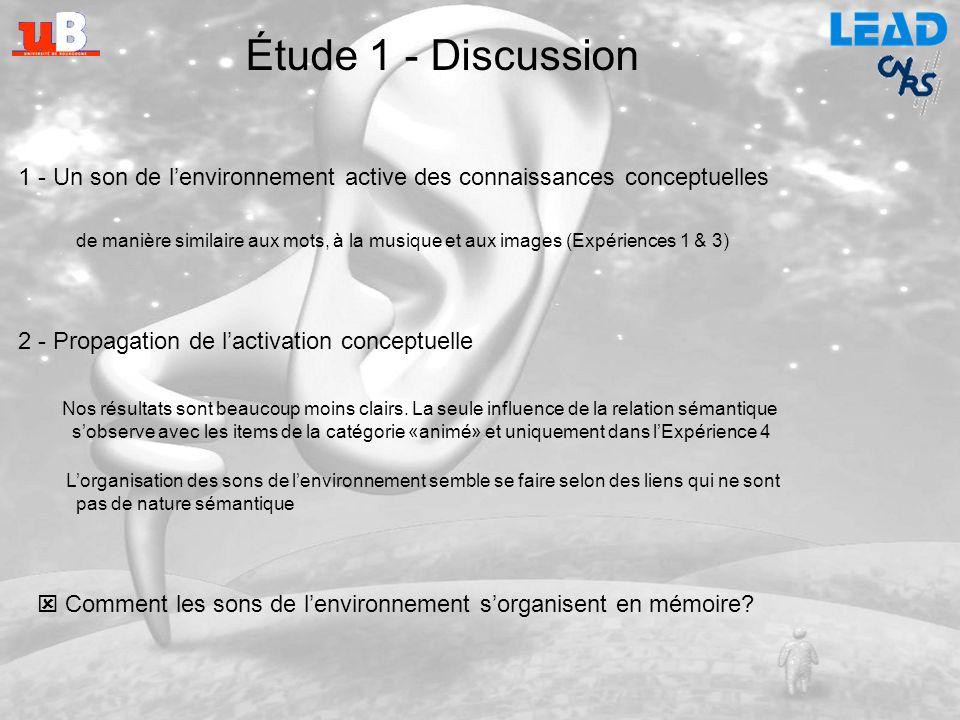 Étude 1 - Discussion 1 - Un son de l'environnement active des connaissances conceptuelles.