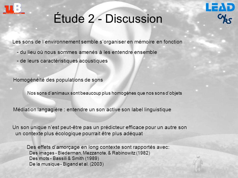 Étude 2 - Discussion Les sons de l'environnement semble s'organiser en mémoire en fonction. - du lieu où nous sommes amenés à les entendre ensemble.