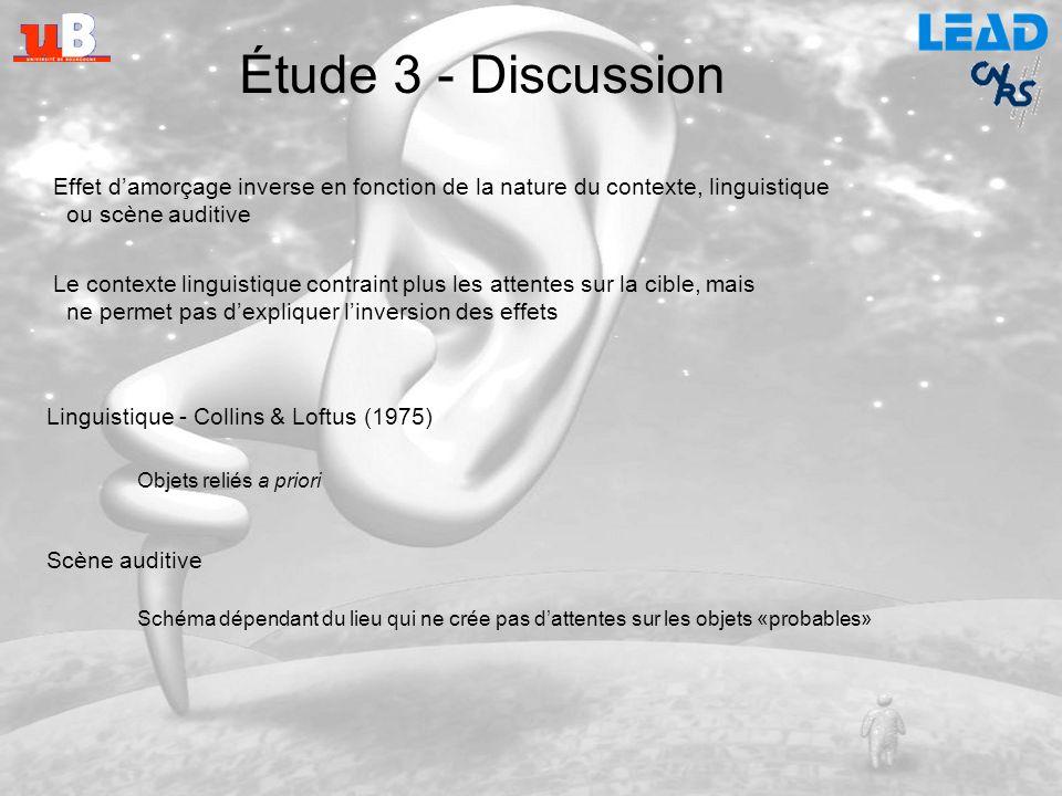 Étude 3 - Discussion Effet d'amorçage inverse en fonction de la nature du contexte, linguistique. ou scène auditive.