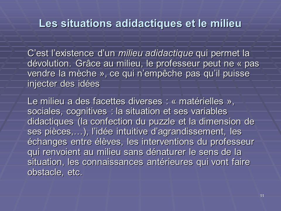 Les situations adidactiques et le milieu