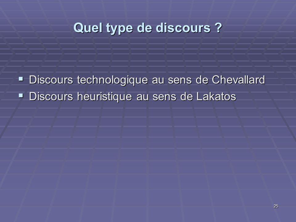 Quel type de discours Discours technologique au sens de Chevallard
