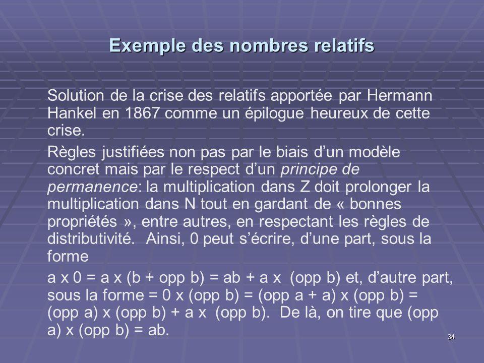 Exemple des nombres relatifs