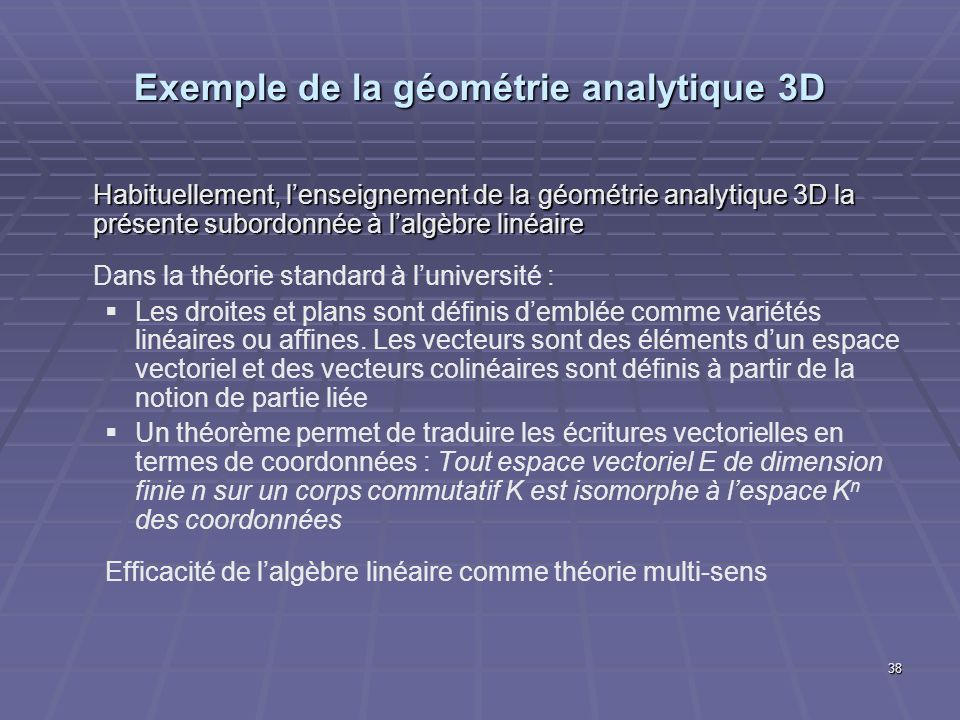 Exemple de la géométrie analytique 3D
