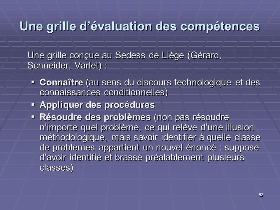 Une grille d'évaluation des compétences