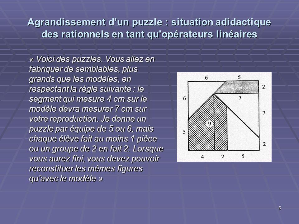 Agrandissement d'un puzzle : situation adidactique des rationnels en tant qu'opérateurs linéaires