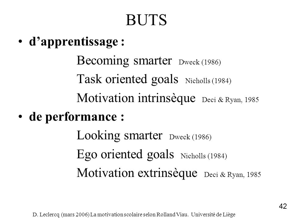 BUTS d'apprentissage : Becoming smarter Dweck (1986)