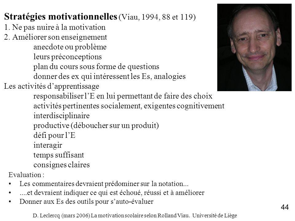 Stratégies motivationnelles (Viau, 1994, 88 et 119) 1