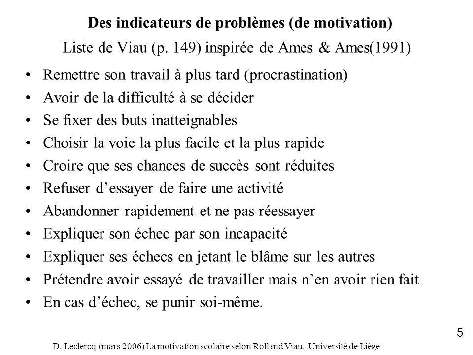 Liste de Viau (p. 149) inspirée de Ames & Ames(1991)