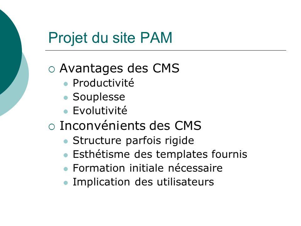Projet du site PAM Avantages des CMS Inconvénients des CMS