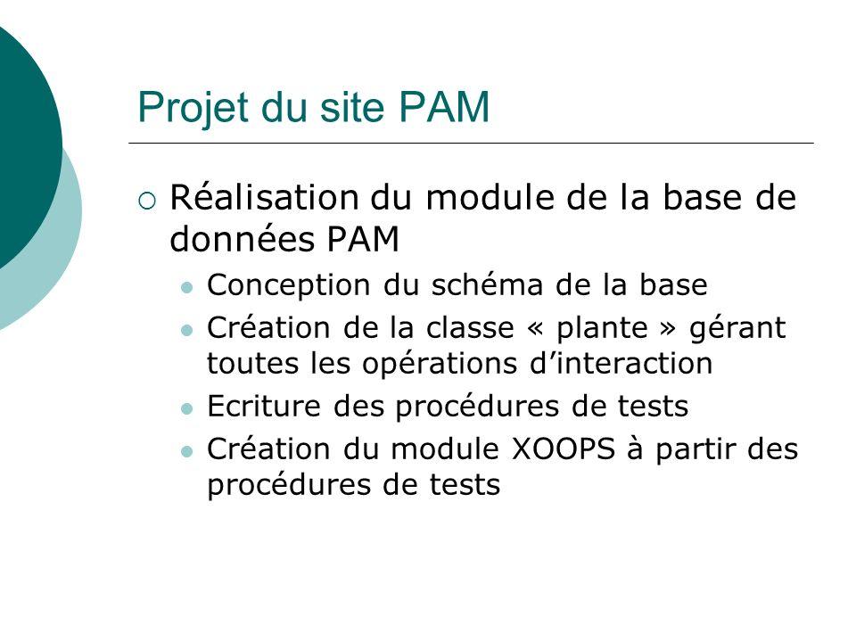 Projet du site PAM Réalisation du module de la base de données PAM