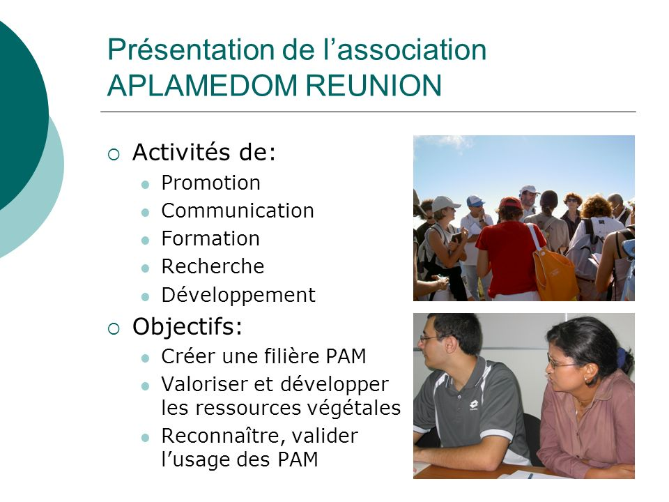 Présentation de l'association APLAMEDOM REUNION